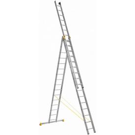 Алюминиевая трехсекционная лестница Техпром P3 9316 3х13 профессиональная