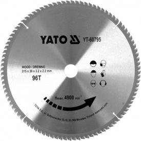 Диск пильный по дереву с победитовыми напайками Yato YT-60795 (315x30x3,2x2,2 мм) 96 зубцов
