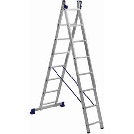 Алюминиевая двухсекционная лестница Техпром 5208 2х8