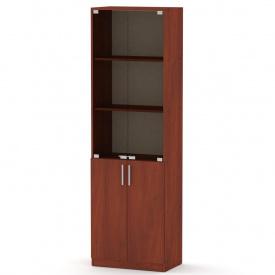 Офисный шкаф КШ-6 Компанит стеклянный верх дсп яблоня