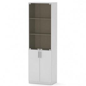 Офисный шкаф КШ-6 Компанит стеклянный дсп белый