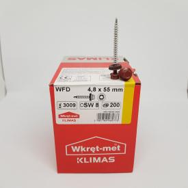 Кровельные саморезы Klimas Wkret-Met 4,8х55 мм по дереву (200 шт ) с резиновой шайбой EDPM для металлочерепицы Окраска RAL 3009 Красная окись красный