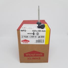 Кровельные саморезы Klimas Wkret-Met 4,8х55 мм по дереву (200 шт ) с резиновой шайбой EDPM для металлочерепицы Окраска RAL 7024 Графитовый серый