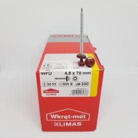 Кровельные саморезы Klimas Wkret-Met 4,8х70 мм по дереву (200 шт ) с резиновой шайбой EDPM для металлочерепицы Окраска RAL 3011 Коричнево-красный