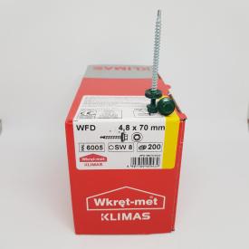 Кровельные саморезы Klimas Wkret-Met 4,8х70 мм по дереву (200 шт ) с резиновой шайбой EDPM для металлочерепицы Окраска RAL 6005 Зеленый мох Зеленый
