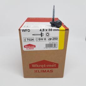 Кровельные саморезы Klimas Wkret-Met 4,8х35 мм по дереву (250 шт ) с резиновой шайбой EDPM для металлочерепицы Окраска RAL 7024 Графитовый серый