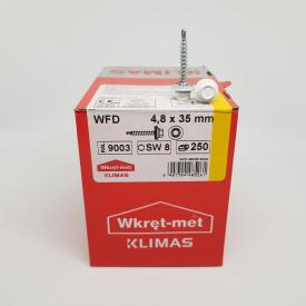 Кровельные саморезы Klimas Wkret-Met 4,8х35 мм по дереву (250 шт ) с резиновой шайбой EDPM для металлочерепицы Окраска RAL 9003 Сигнальный белый