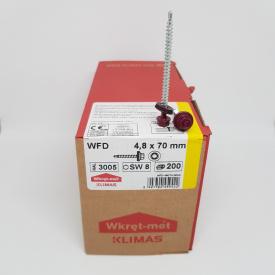Кровельные саморезы Klimas Wkret-Met 4,8х70 мм по дереву (200 шт ) с резиновой шайбой EDPM для металлочерепицы Окраска RAL 3005 Винно-красный