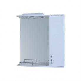 Дзеркало для ванної кімнати БАЗИС 65 праве з бортиком з підсвічуванням Пік