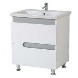 Тумба для ванной комнаты СИМПЛ 70 металлик c умывальником КОМО 70