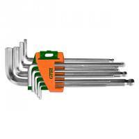 Ключи шестигранные 9 шт 1.5-10 мм CrV средние шар GRAD (4022185)