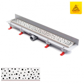 Душевой канал 750 мм с матовой решеткой Квадраты нержавеющая сталь вертикальный фланец кромка