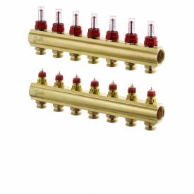 """Коллектор латунный 1"""" ВВ тип FHF с ротаметрами 7 контура - 3/4"""" Н"""