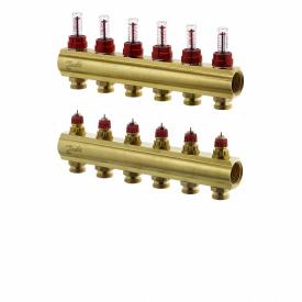 """Коллектор латунный 1"""" ВВ тип FHF с ротаметрами 6 контура - 3/4"""" Н"""