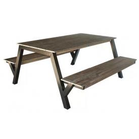 Стіл обідній для альтанки GoodsMetall з металу і дерева Лофт