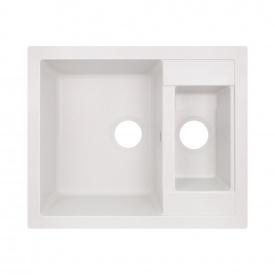 Кухонная мойка с дополнительной чашей Lidz 615x500/200 WHI-01 (LIDZWHI01615500200)