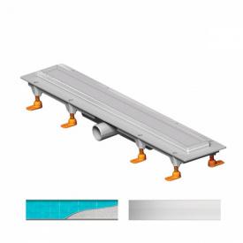 Душевой канал 650 мм с матовой решеткой Классик и Под плитку нержавеющая сталь горизонтальный фланец