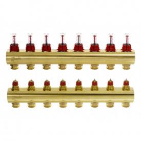 """Коллектор латунный 1"""" ВВ тип FHF с ротаметрами 2 контура - 3/4"""" Н"""