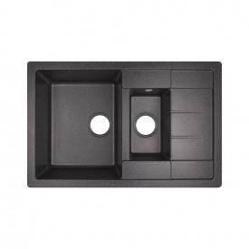 Кухонная мойка с дополнительной чашей Lidz 780x495/200 BLA-03 (LIDZBLA03780495200)