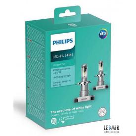 Светодиодная автолампа Philips H4 LED 12V 15W 6200K P43T комплект (2шт)