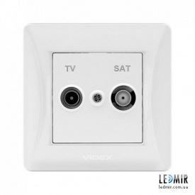 Розетка одноместная Videx Binera белая TV и SAT конечная