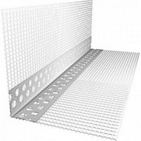 Уголок перфорированный пластиковый 3,0 м с сеткой 70х70 мм 145 г/м2