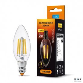 Светодиодная лампа Videx Filament C37 6W-E14-4100K