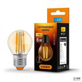 Светодиодная лампа Videx Filament G45 6W-E27-2200K