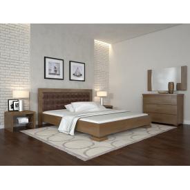 Двуспальная кровать из дерева 160х200 щит Сосны Монако Орех