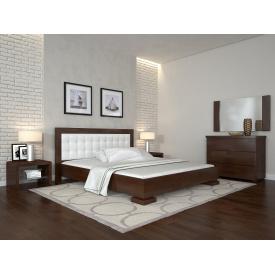 Двуспальная кровать из дерева 160х200 щит Сосны Монако Темный орех