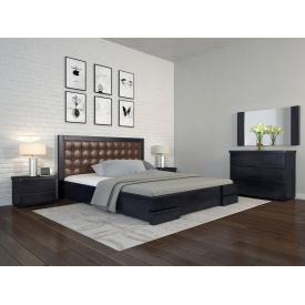 Двуспальная кровать 160х200 из дерева Сосны щит Регина люкс Венге темный