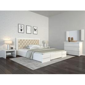 Двуспальная кровать 160х200 из дерева Сосны щит Регина люкс Белый