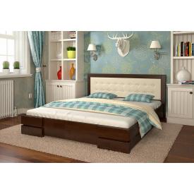Двуспальная кровать из дерева 160х200 щит Сосны Регина Темный орех