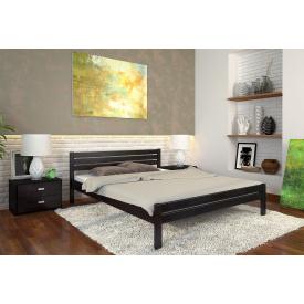 Двуспальная кровать из дерева 160х200 щит Сосны Роял Венге темный