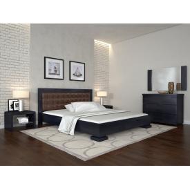 Двуспальная кровать из дерева 160х200 щит Сосны Монако Венге темный