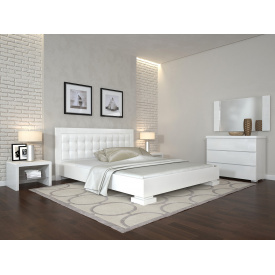Двуспальная кровать из дерева 160х200 щит Бука Монако Белый