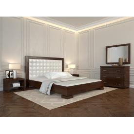 Двуспальная кровать из дерева 160х200 щит Сосны Подиум Темный орех
