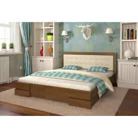 Двоспальне ліжко з дерева 160х200 щит Бук Регіна Горіх