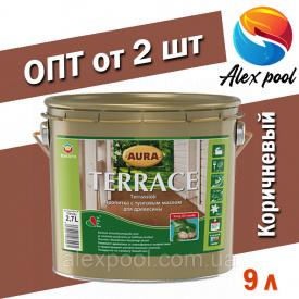 AURA TERRACE 9 л коричневая Масло для террас на основе натуральных тунгового и льняного масел пропитка