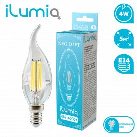 Светодиодная филаментная лампа ilumia 061 LF-4-C37-E14-NW 400Лм 4Вт 4000К