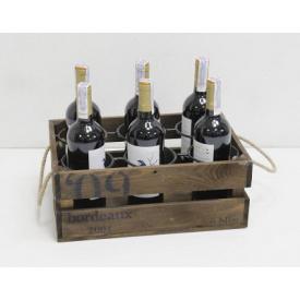 Підставка для вина Холодна ковка Прованс Ящик на 6 пляшок коричневий