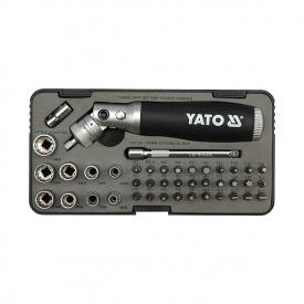 """Отвертка реверсивная YATO трещотка, насадки HEX 1/4"""" SL,H,PH,PZ,T 42 предмета (YT-2806)"""