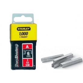 Скобы STANLEY тип А, 6мм, в степлера ручного Light Duty, 1000шт (1-TRA204T)