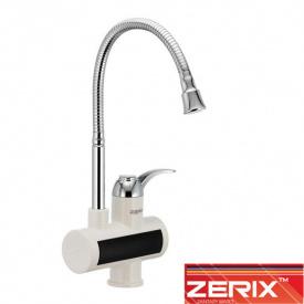 Электрический проточный водонагреватель Zerix ELW 021EF (с индикатором темп., рефлекторный гусак) на мойку 3 кВт