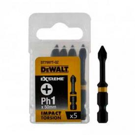 Биты ударные DeWALT IMPACT TORSION EXTREME Ph1, 50 мм, 5 шт (DT7997T)