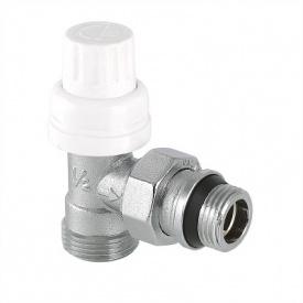 Клапан термостатичний кутовий з напівсгоном і переходом на євроконус 1/2x3/4 Valtec VT.031.NER.04
