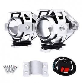 Фары прожекторы для мотоцикла CREE U5 LED 12В 3000лм + кнопка серые