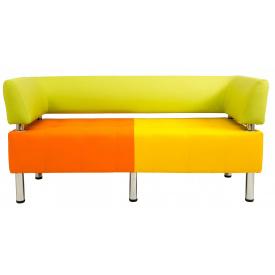 Диван Richman Офис Двойка 1550 x 680 x 450H см Со спинкой и подлокотниками Флай 2218/2240/2234 Зеленый/Оранжевый/Желтый