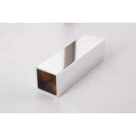 Труба квадратная пустотелая алюминиевая хромированная30х30 хром для мебельных конструкций 5,95 м