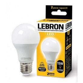 LED лампа Lebron L-A65 15W Е27 3000K 1350Lm кут 240°